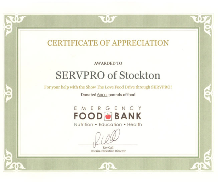 Certificate of Appreciation - Emergency Food Bank of Stockton and San Joaquin