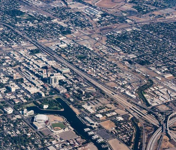 Aerial view of downtown Stockton